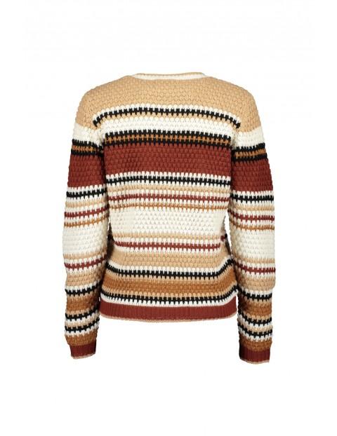 Damski sweter z dzianiny  w brązowe paski