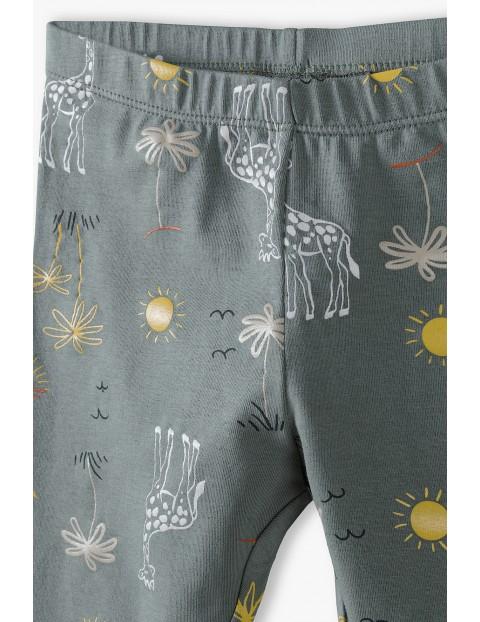 Spodnie dresowe dziewczęce z żyrafami - khaki
