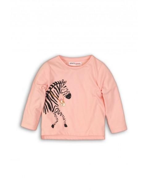 Bluzka dziewczęca różowa z zebrą