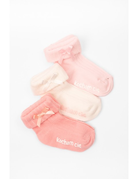 Skarpety niemowlęce z napisem Kocham Cię 3-pak