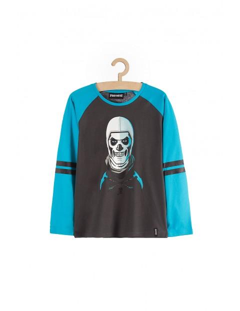 Bluzka bawełniana chłopięca Fortnite- niebiesko-szara