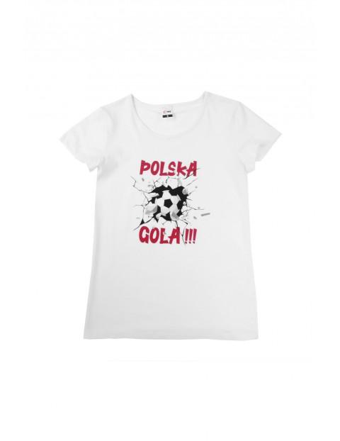 T-shirt o klasycznym kroju z nadrukiem POLSKA GOLA biały