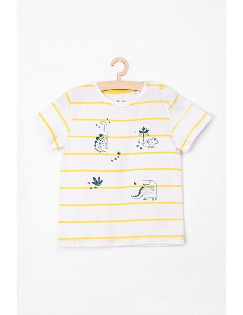 T-Shirt niemowlęcy biały w żółte paski- Dino
