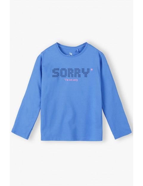 Bawełniana niebieska bluzka dziewczęca z napisem Sorry