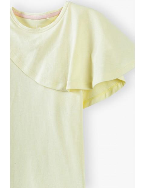 T- shirt dziewczęcy z falbanką - żółty