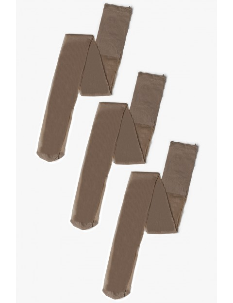 Rajstopy damskie gładkie beżowe 3-pack 20 DEN Dune