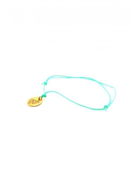 Narodziny- bransoleta pozłacane Stópki - miętowy sznurek