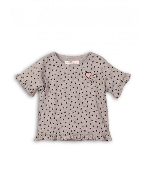 T-shirt dziewczęcy szary z ozdobionym falbanką rękawem rozm 74/80