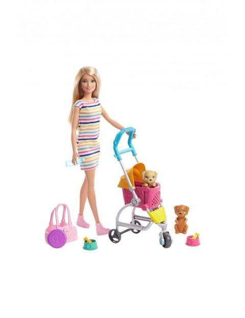 Barbie- spacerówka z pieskami + lalka wiek 3+