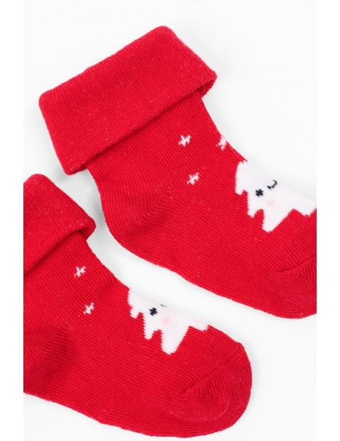 Skarpetki świąteczne dla niemowlaka- czerwone