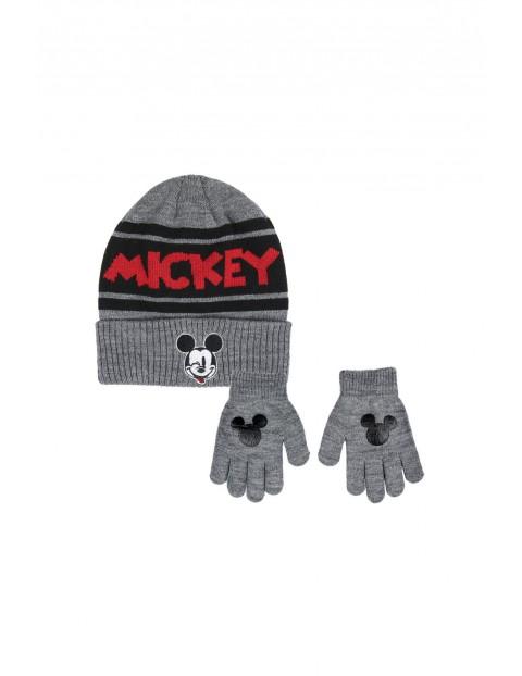 Komplet zimowy dla chłopca czapka + rękawiczki Myszka Miki - szary rozmiar 52/54