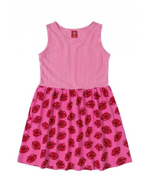 Sukienka dziewczęca różowa w usta i paski