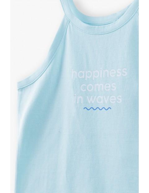 T- shirt dziewczęcy z napisem Happiness Comes In Waves - niebieski