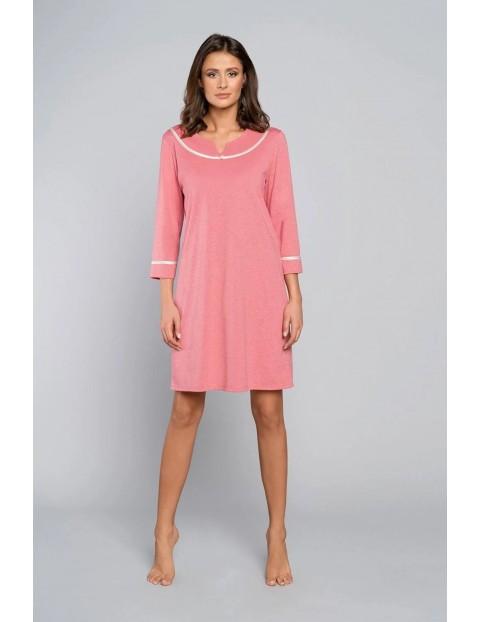 Różowa koszula nocna damska na długi rękaw