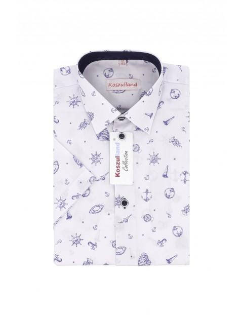 Koszula chłopięca biała z krótkim rękawem - marynarskie wzory