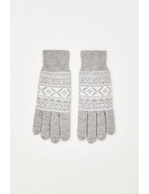 Rękawiczki we wzór z metaliczną nitką - szare