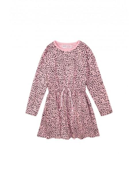 Sukienka dziecięca różowa w panterkę