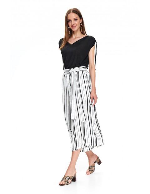 Szerokie spodnie damskie w czarno - białe paski z wiązaniem