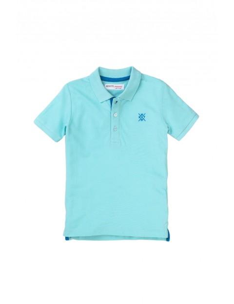 Bawełniany T-shirt niemowlęcy z kołnierzykiem - niebieski
