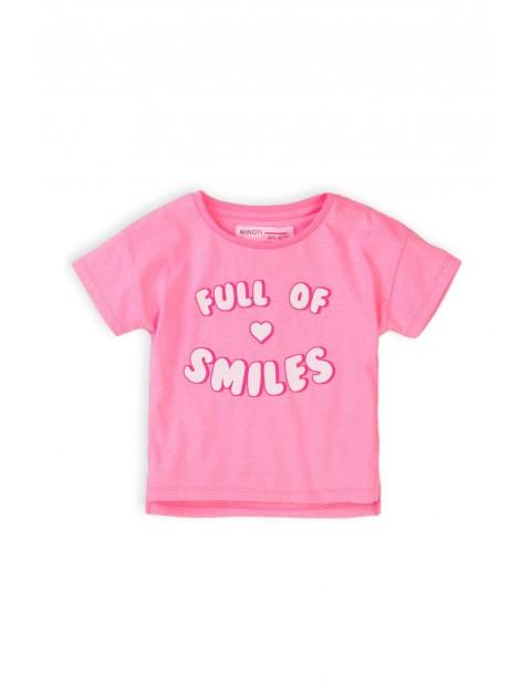 T-shirt dziewczęcy różowy z napisem