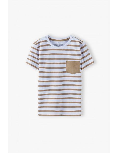 Bawełniany t-shirt chłopięcy w paski z ozdobną kieszonką