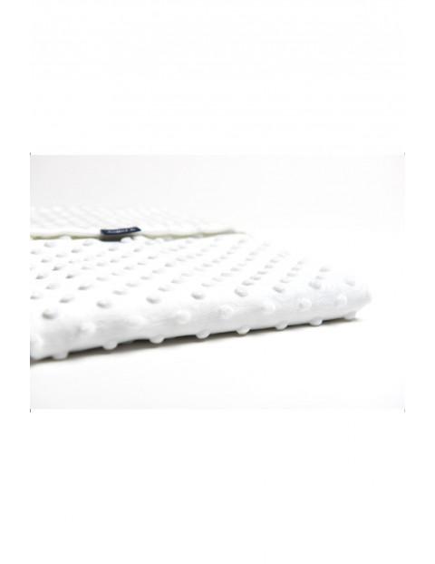 Koc Minky + Bawełna biały grochy szaro-białe 75 x 100 cm