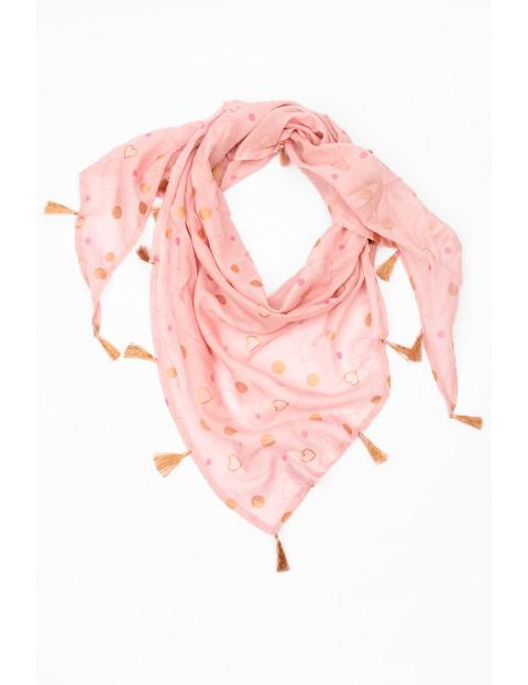 Różowa apaszka pod szyję w złote serduszka