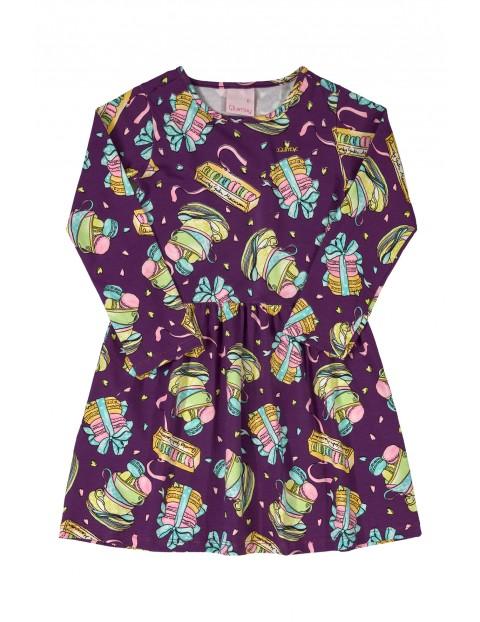 Sukienka dziewczęca we wzorki - fioletowa z długim rękawem