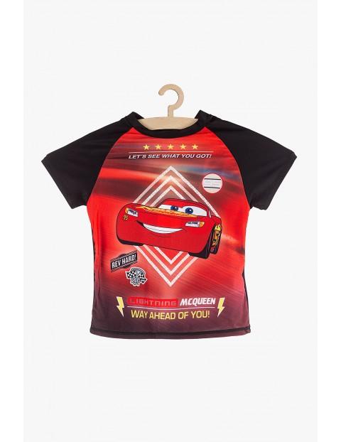 T-shirt kąpielowy dla chłopca Auta czarno-czerwony