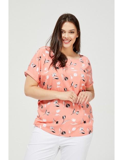 Bluzka damska na krótki rękaw kwiatowy wzór brzoskwiniowa