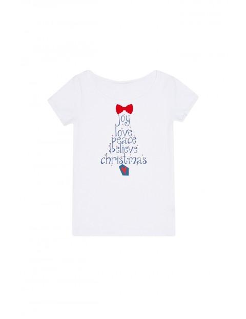 Bluzka z nadrukiem świątecznym - biała