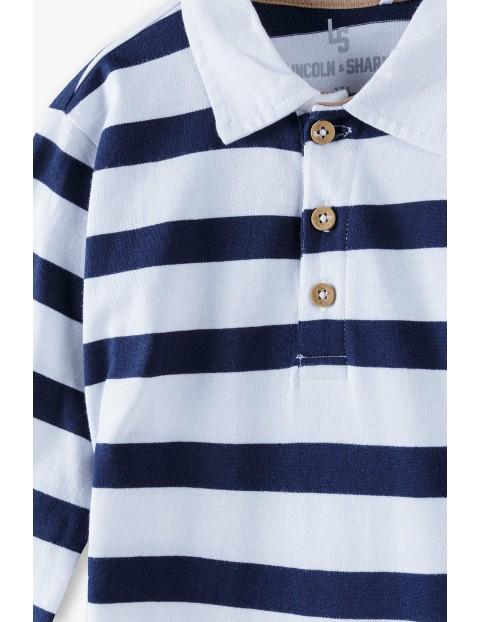 Bawełniana bluzka chłopięca w paski z podwijanym rękawem i kołnierzykiem