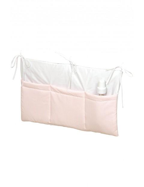Przybornik na łóżeczko Amy- różowy w paski