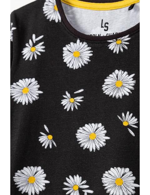T-shirt dziewczęcy w kwiatki - czarny