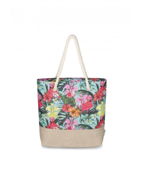 Jednokomoroa torba na ramię w kwiaty