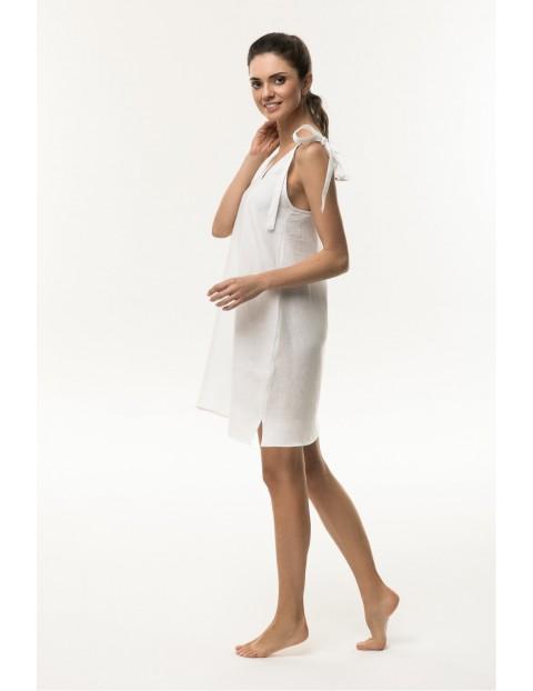 Sukienka ciążowa lniana biała