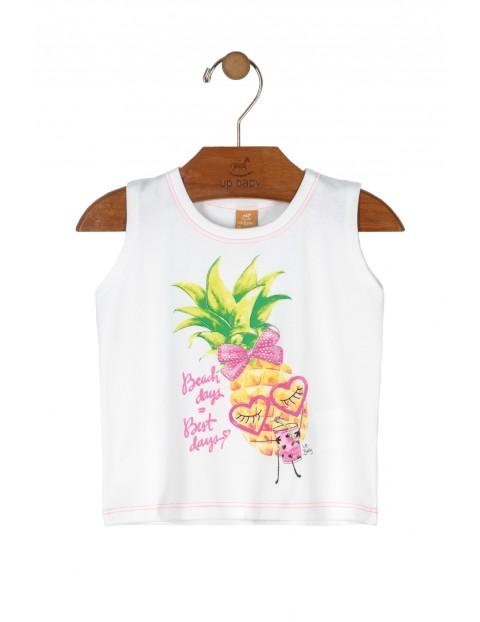 Biała bluzka dziewczęca z ananasem