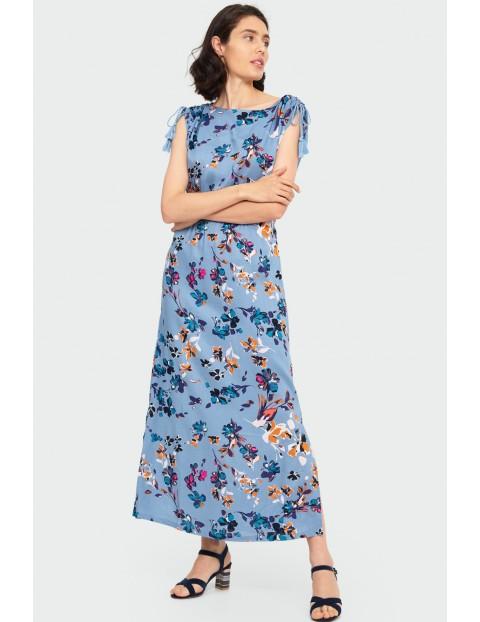 Wiskozowa długa sukienka z kwiatowym nadrukiem z okrągłym dekoltem