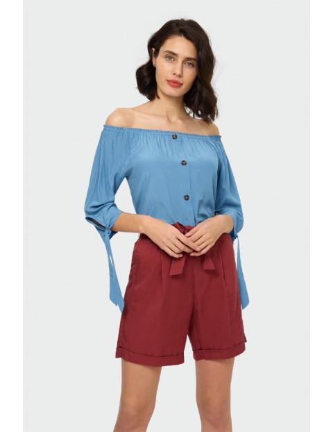 Bluzka damska z dekoltem typu carmen- niebieska