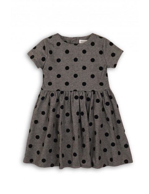 Sukienka dziewczęca szara w czarne grochy