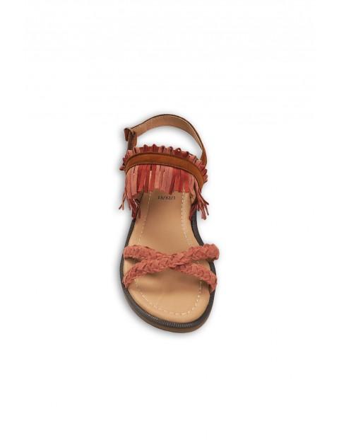 Sandały dziewczęce- różowe z ozdobnymi frędzlami