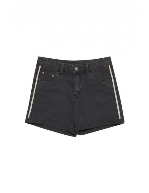 Szorty damskie jeansowe z lampasami czarne