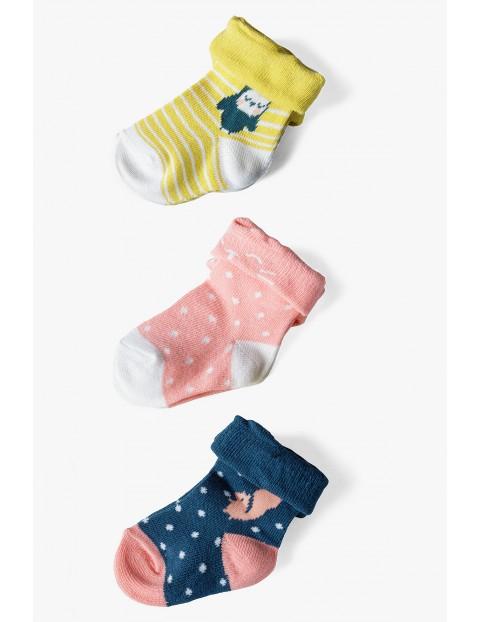 Kolorowe skarpetki niemowlęce 3pak