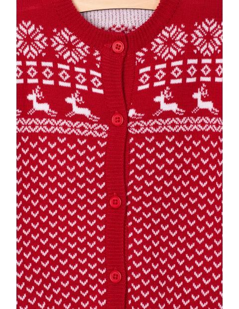 Sweter niemowlęcy z motywem świątecznym-czerwony w renifery
