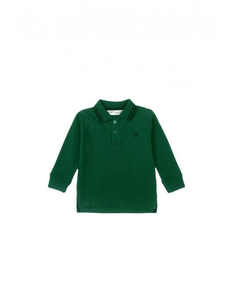 Bluzka niemowlęca bawełniana z kołnierzykiem zielona
