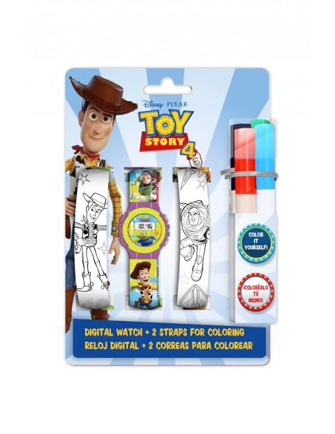 Zestaw Toy Story z cyfrowym zegarkiem , dwoma dodatkowymi paskami do pokolorowania oraz markerami