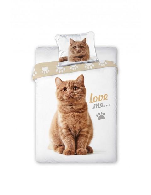 Pościel bawełniana  Kot Love Me 140x200+70x80cm