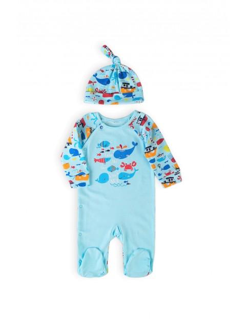 Pajac niemowlęcy z czapką - Ocean