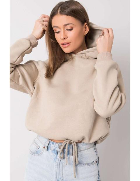 BASIC Bluza damska z kapturem - beżowa