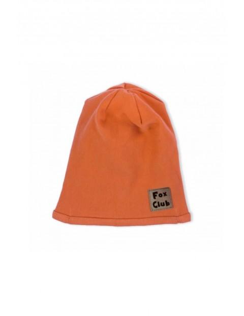 Czapka niemowlęca dzianinowa Fox Club -pomarańczowa